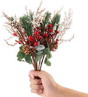 LONGBLE 12Pcs Artificial Red Berries with White Pip Pinecones Holiday Floral Sprays Decorations 12.6 Inches Bendable Stems Christmas Crafts Seasonal Wreaths Centerpieces DIY Party Festive Home Decor
