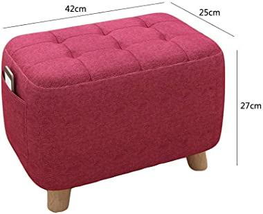 Round Ottoman Footstool Foot Rest,upholstered Pouf Small Seat Foot Rest Chair Home Office Real Wood Legs Stands-Green 42x25x2