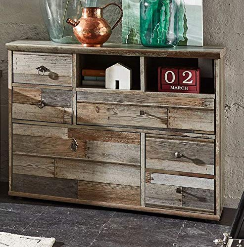 Froschkönig24 Kommode Bonanza Sideboard Anrichte Wohnzimmerschrank Driftwood Nachbildung