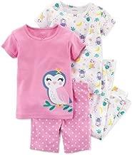 Carter's - Set de Pijama de 4 Piezas con Estampado de búho, Color Rosa, para bebé niña de 18 Meses