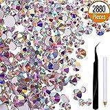 2880 Piezas Cristales para uñas Abalorios de arte de uñas AB Granos redondos Flatback Encantos con pinza de recogida y diamantes de imitación Escoger la pluma (SS4 mixto 5 6 8 10 12)