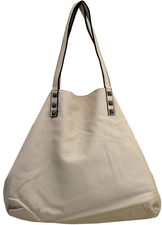 3 in 1 Tote Purse Beige Faux Leather Stonewashed Hobo Shoulder Bag Satchel Crossbody