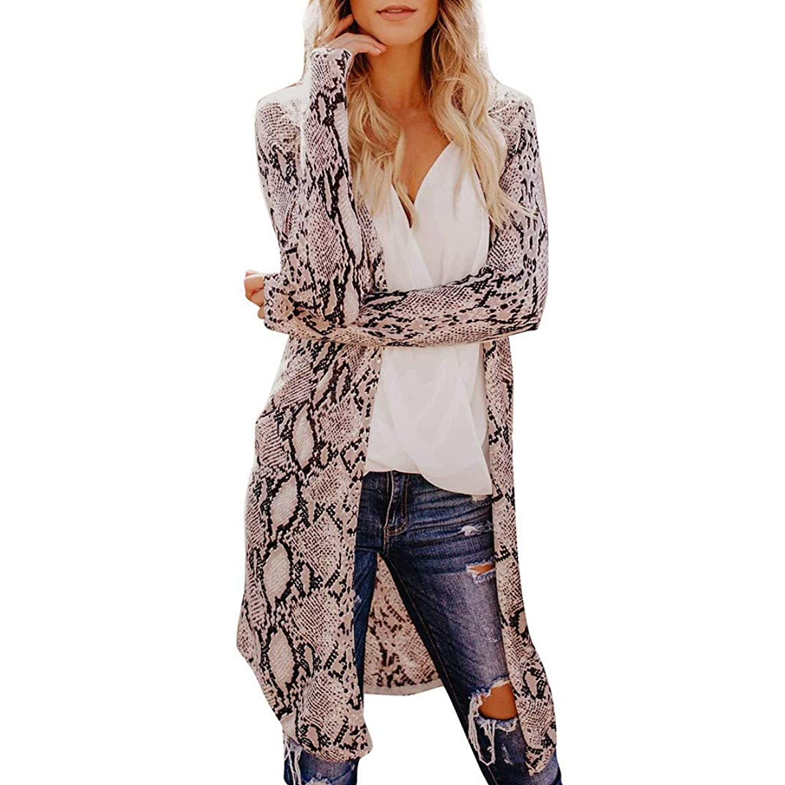Womens Fashion Sexy Long Sleeves Leisure Leopard Print V-Neck Long Cardigan Coat