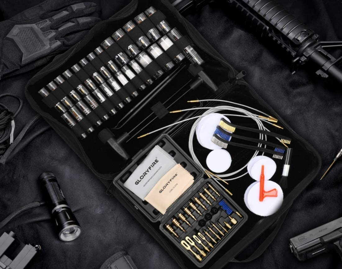 GLORYFIRE Gun Cleaning Kit Rifle Handgun Shotgun Pistol Cleaning Kit for All Guns with High-end Brass Brushes, Mops, Jags, Reinforced, Lengthened Rods and Gun Cleaning Snake&Ropes: Kitchen & Dining