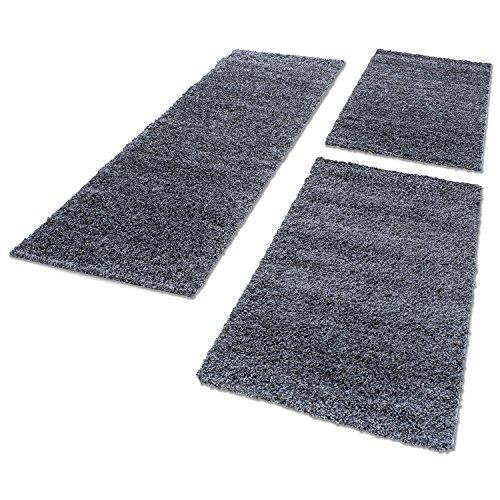 Bettumrandungen Hochflor Shaggy Wohnzimmer Schlafzimmer Läufer Langflor Teppiche 3 TLG, Farbe:Grau, BettSet:2 mal 60x110 + 1 mal 80x150