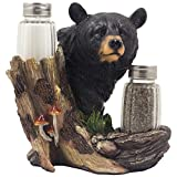Black Bear Glass Salt and Pepper Shaker Set Sculpture Kitchen Decor in Rustic Lodge and Cabin Figurines by Home-n-Gifts