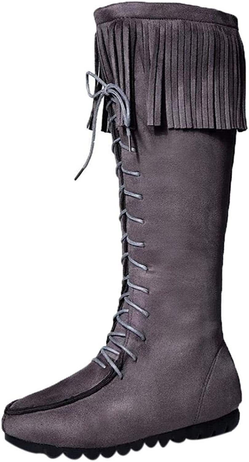 Goodtrade8 Clearance Lace up Women Knee Long Boots Fringe Flat Heels Long Boots Tassel Knee High Boot
