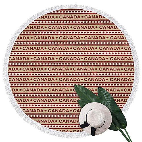 DaiMex Toalla de Playa Redonda Alfombra de Picnic de Microfibra Manta de Toalla de Playa con borlas 150 CM (Clásicos canadienses 05)