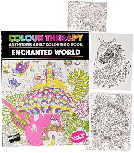 alles-meine.de GmbH 1 Stück _ A4 - großes Malbuch -  Colour Therapy - Fabelwelt / Tiere & Blumen - Mandalas  - 64 Seiten - Anti Streß - für Erwachsene & Kinder - Tattoo Dot Sty..