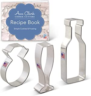 Ann Clark Cookie Cutters 3-Piece Wedding Engagement Cookie Cutter Set with Recipe Booklet, Diamond Ring, Champagne or Wine Glass & Bottle
