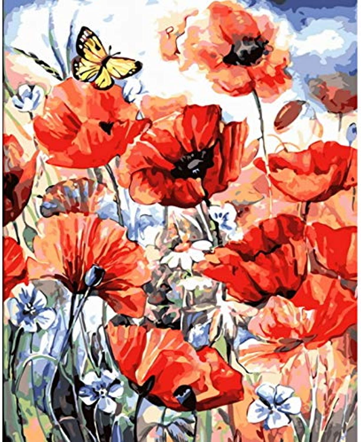 CAYYOU DIY painting by numbers paint by number for home decor for living room poppy, Framed, 50x60cm