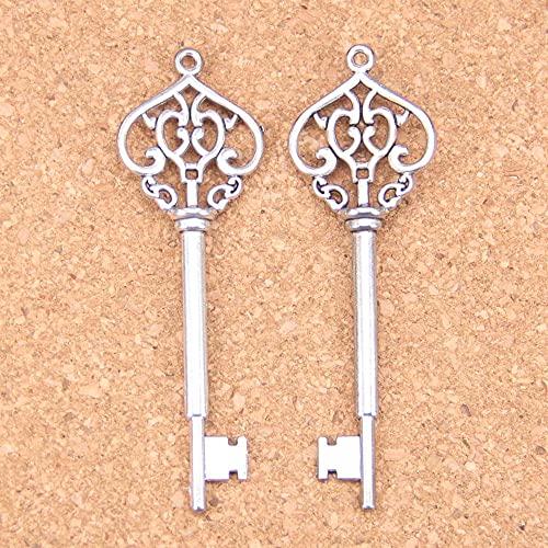 WANM Colgante 6 Piezas Vintage Key Charms 69Mm Colgantes Antiguos Vintage Joyería De Plata Tibetana DIY para Collar De Pulsera