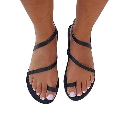 48808106e8136 Syktkmx Womens Toe Ring Strappy Slip on Flat Slide Sandals