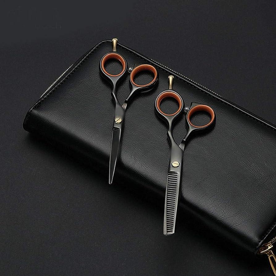 排除する池失業者Hairdressing 5.5インチの専門の理髪はさみ、美容院の組合せセット理髪はさみ毛の切断はさみステンレス理髪はさみ (色 : 黒)