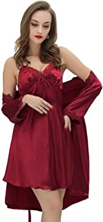 Women Sexy Silk Satin Robe Camisole Pajama Dress 2 Piece Suit Sleepwear