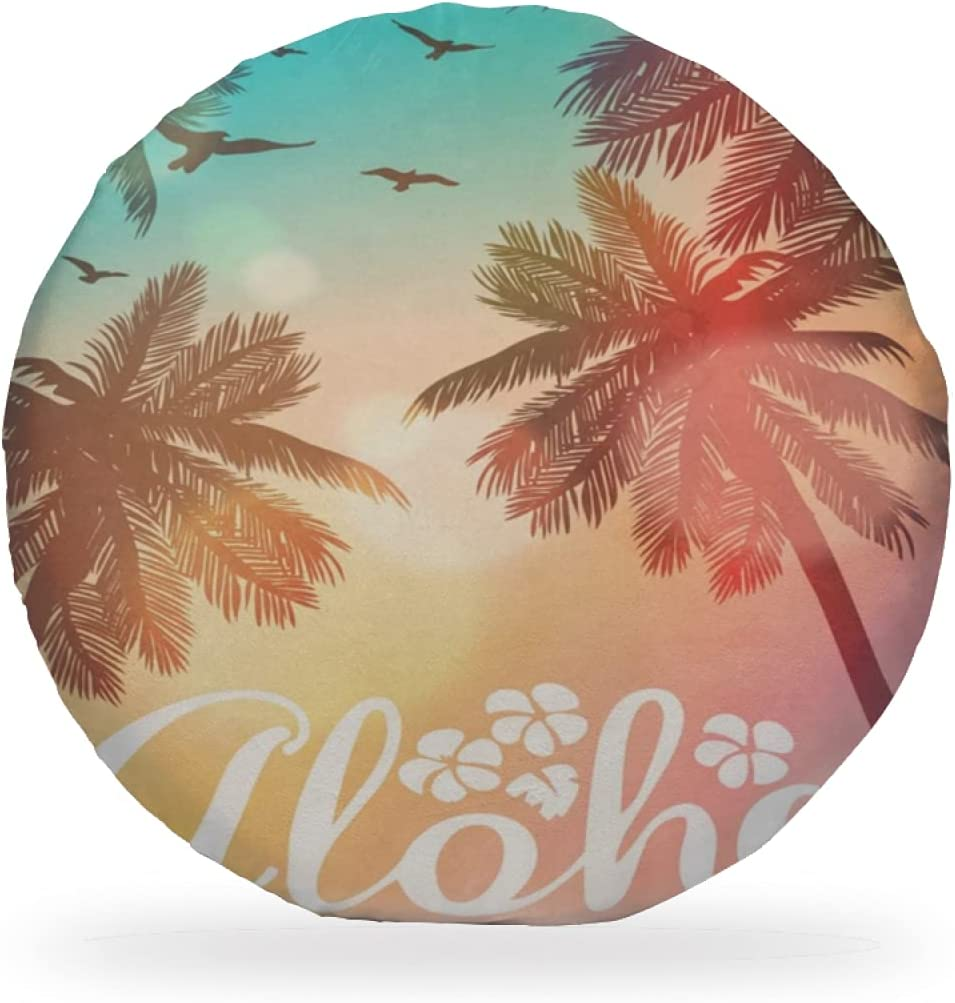 Max 75% OFF Chair Pads Chic Tropical Sunset National products Beach Tree Soft Palm Aloha Round