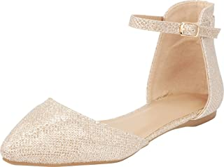 Cambridge Select Women`s D`Orsay Closed Pointed Toe Buckled Ankle Strap Ballet Flat