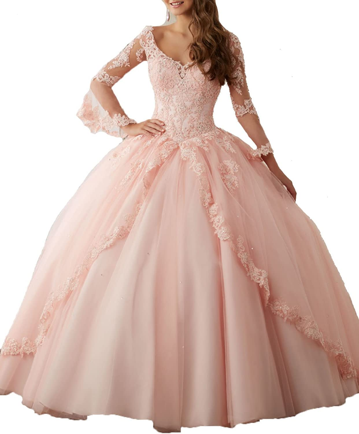 XSWPL Applique Tulle Quinceanera Ball Gown Dresses Long Prom Dress