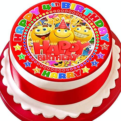Emoji Smiley Gezichten Partij Gepersonaliseerd met Naam en Leeftijd PRECUT 7.5 INCH Cake Topper Eetbare Decoratie Icing Sheet
