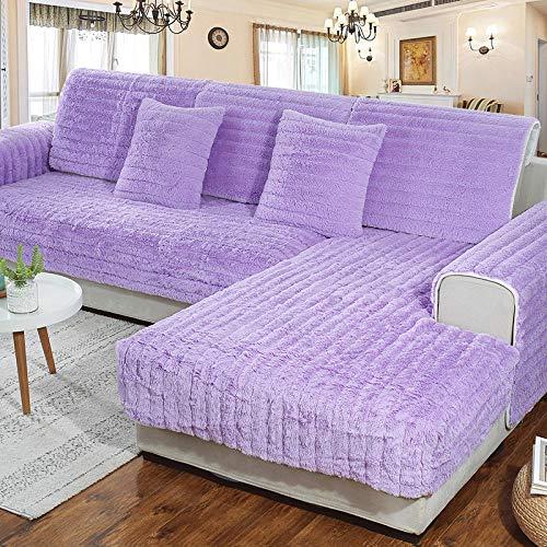 B/H Haustierschutz Sofabezug,Dickes warmes Plüschsofakissen,rutschfeste weiche Sofabezug-lila_70×70cm,Faltbar und Elastisch Sofaüberwurf