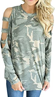 Wintialy Women Camouflage Loose Long Sleeve Tops Off Shoulder Blouse Sweatshirt