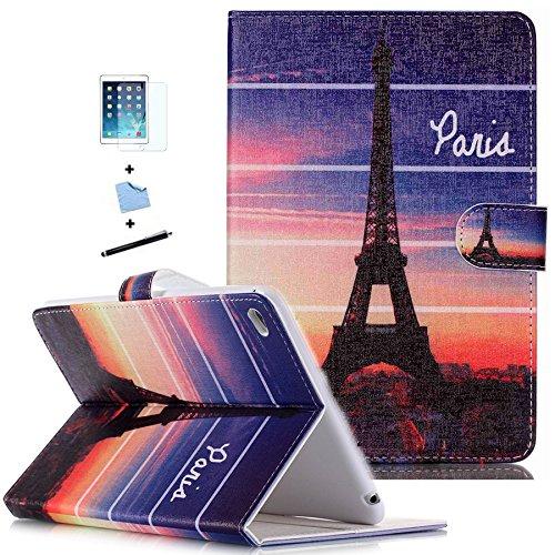 TIODIO 4 en 1 Elegante Custodia Flip Cover Pelle in Ecopelle per iPad Mini 4 Tablet con Pratica Funzione di Supporto, Screen Film Protector e dello Stilo Incluse, A39