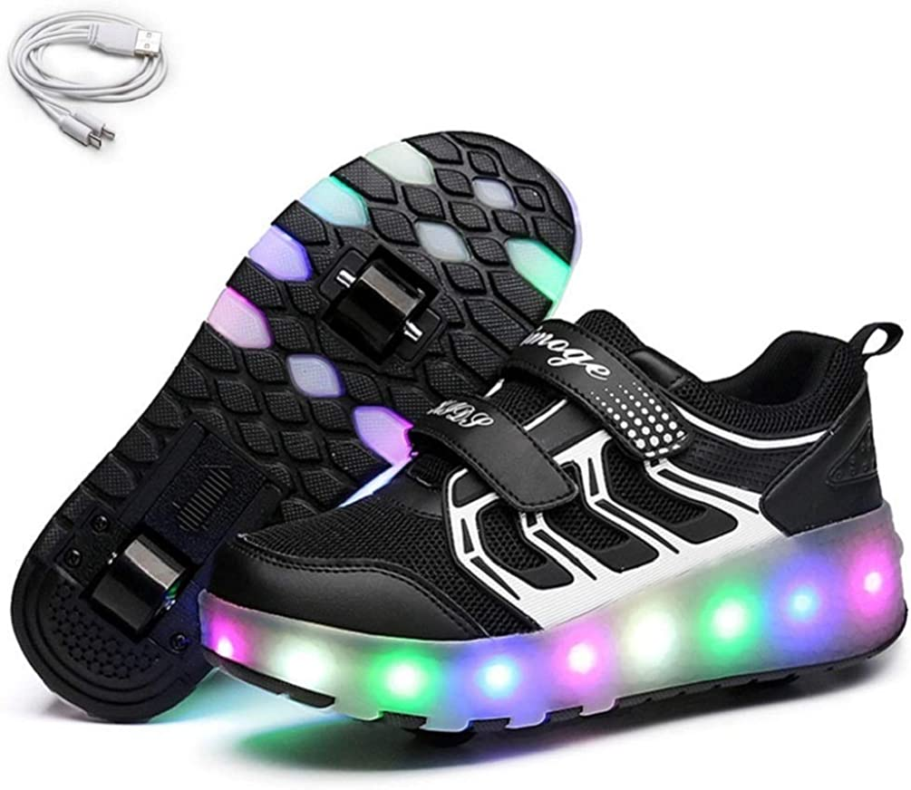 Ehauuo Kids Two Wheels Shoes with Lights Rechargeable Roller Skates Shoes Retractable Wheels Shoes LED Flashing Sneakers for Unisex Girls Boys ...
