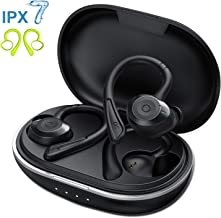 Muzili Bluetooth Earbuds with Charging Case for 36hrs Long Playtime, True Wireless Earbuds with Over-Ear Earhooks for Running, Rope Skipping, Yoga, IPX7 Waterproof, Deep Bass Earphone with Mic, Black