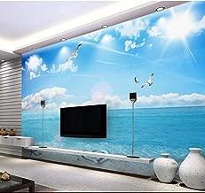 Custom Photo Wallpaper for Walls 3 d Mural Blue Sky, White Clouds, Romantic Beach, sea View, 3D TV Background Wall Yynight-140cmx70cm