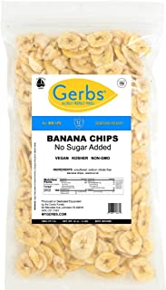Gerbs Banana Chips Unsweetened, 2 LBS – Unsulfured & Preservative Free - Top 14 Allergy Friendly & NON GMO - Product of Philippines