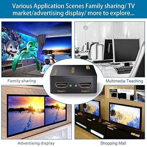 Musou 4K HDMI Répartiteur 1x2 HDMI Splitter 1 entrée 2 sorties Amplificateur Distributeur 2 voies HDMI Ver 1.4 Soutien 3D HDCP,Black