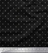 Soimoi Black Poly Georgette Fabric Geometric Shirting Printed Fabric 1 Yard 42 Inch Wide