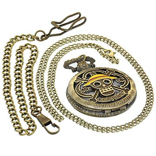 Reloj de Bolsillo de Bronce Vintage de latón Envejecido, para Hombres y Mujeres, con 1 Cadena de Collar y 1 Llavero con Clip