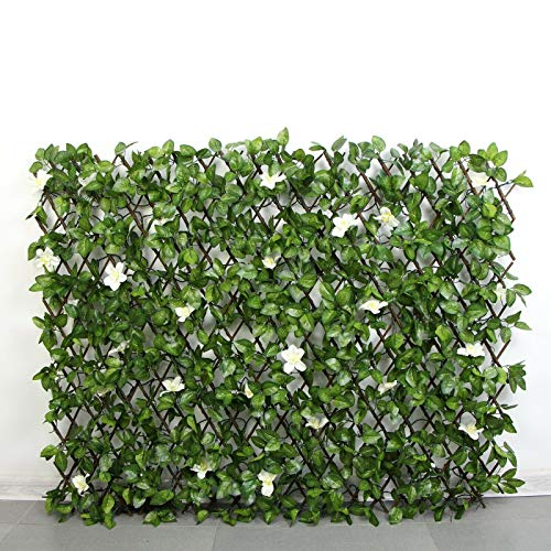 HYGRAD Garden Screening Trellis Expanding Wooden Fence with Artificial Plant Leaves UK (Green & White Flower)