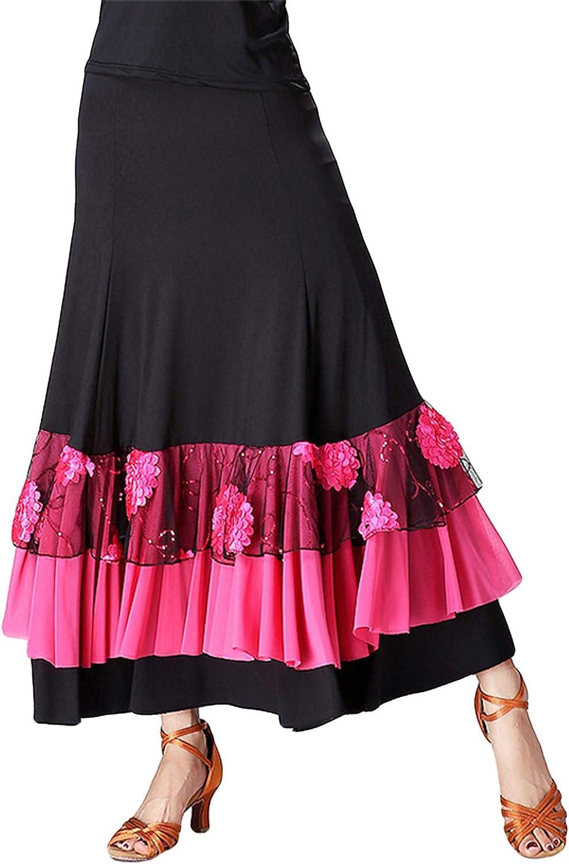 Women Ballroom Practice Dress Fancy Belly Dance Wear Sequin Flower Embroidery Ruffle Big Wing Stage Skirt