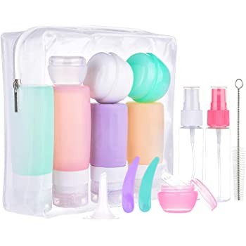 16 Pack Travel Bottles Set for Toiletries, Morfone TSA Approved Travel Containers Leak Proof Silicone Squeezable Travel Accessories 2oz 3oz for Shampoo Conditioner Lotion Body Wash ( BPA Free )