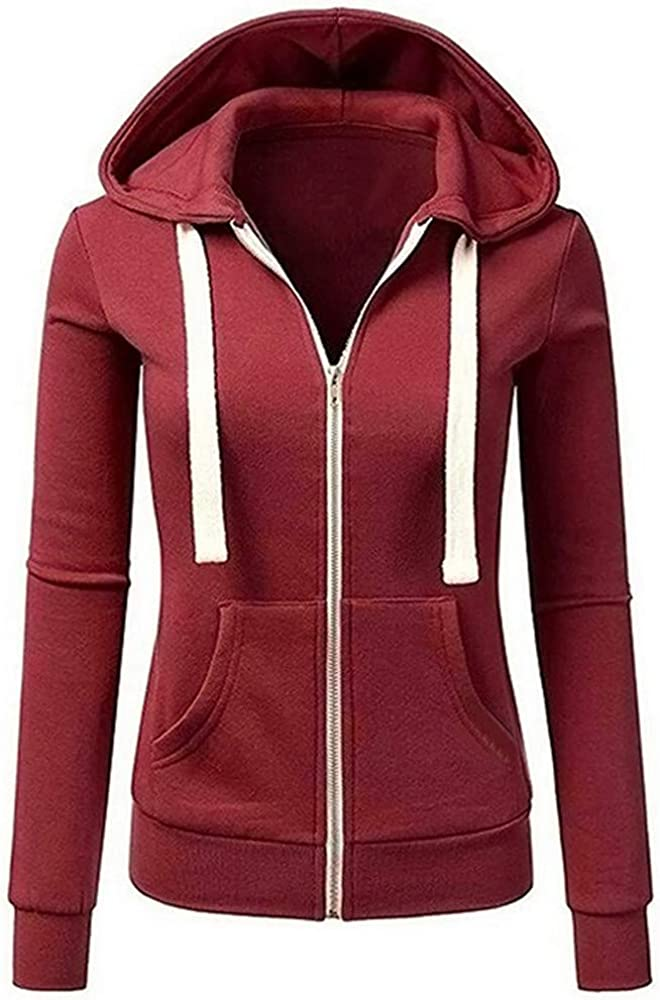 TOPUNDER Long Sleeve Patchwork Solid Color Hooded Zipper Casual Sport Coat Women
