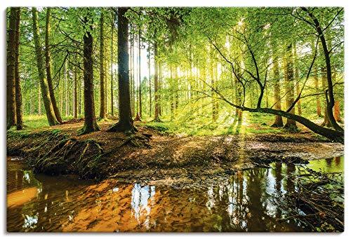 Artland Leinwandbild Wandbild Bild auf Leinwand 90x60 cm Wanddeko Wald Natur Landschaft Bach Sonne Baum Sonnenstrahlen T9IO
