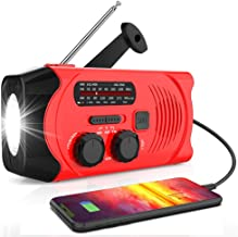 【2020 Newest Version】RegeMoudal Emergency Solar Hand Crank Radio, NOAA Weather Radio for Emergency with AM/FM, LED Flashli...