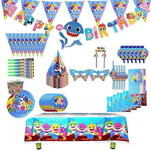Set di 136 pezzi Set di forniture per feste di squalo, decorazione di compleanno per bambini di squalo,decorazione di festa di squalo, decorazione di forniture per feste di carnevale per bambini(blu)