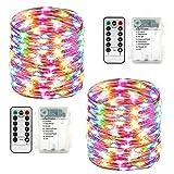 Qedertek Lichterkette außen Batterie, 2 Stück 100 LED Lichterkette Wasserdicht, 10M Lichterkette Weihnachtsbaum Bunt, Lichterketten mit...