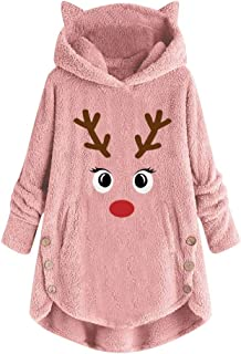 Women Plush Coat Cat Ears Hooded Pullover Loose Embroidered Christmas Antlers Sweater Plus Size DongDong