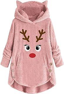 Amlaiworld Sudadera de Navidad para Mujer Jersey de Felpa de Invierno Botón Abrigo Bordado Jersey de Oreja de Gato con Cap...