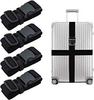Luggage Straps, 4 PCS Travel Luggage Belts Luggage Straps Suitcase Belts, Black Travel Accessories Bag Straps for Travel B...