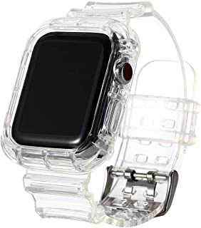MARGOUN Clear Watchband Sports Band TPU Strap Case for Apple Watch 42/44mm iWatch Series 5/4/3/2/1,Soft Thin Silicone Repl...