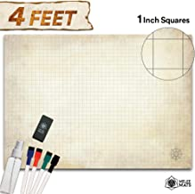 Battle Grid Game Mat - Ultra Durable Polymer Material - Role Playing DND Map - Reusable Tabletop Square Mats - RPG Dungeons and Dragons Dry Erase Vinyl - Large Set for Starters and Masters 34.5x48
