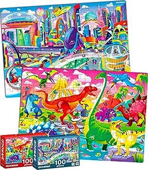 Quokka 2 Big 100-Pieces Dinosaurs Jigsaw Puzzles