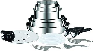 Tefal Ingenio Preference Batterie de cuisine 15 pièces induction, Casseroles non revêtues, Poêles, Couvercles antiprojecti...