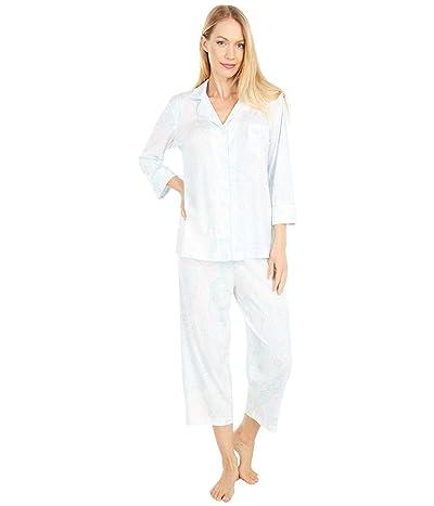 LAUREN Ralph Lauren Jersey Knit 3/4 Sleeve Notch Collar Capri Pants Pajama Set (Mint Paisley) Women