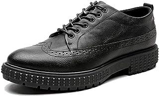 Men's Fashion Oxford Insouciant Classic Comfortable Graven Thick Base Height Brogue Shoes casual shoes (Color : Black, Size : 43 EU)